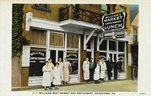 Meat Market and Restaurant. ca. 1925, Uniontown, Pennsylvania, USA, J