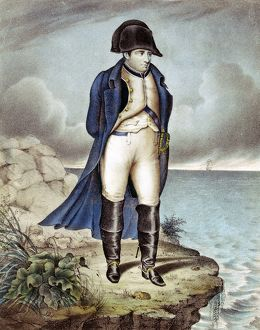 Napoleon I (Napoleon Bonaparte) 1769-1821. Napoleon in exile. Contemporary aquatint