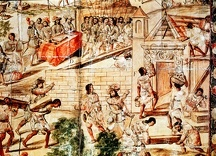 Native slaves building Mexico City on the ruins of Tenochtitlan under direction of