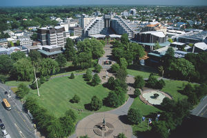 New Zealand, South Island, Christchurch, aerial view of Victoria Square with modern