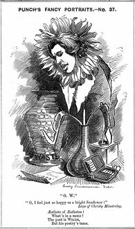 Oscar Wilde (1854-1900) Irish playwright, novelist, poet and wit. Cartoon by Edward