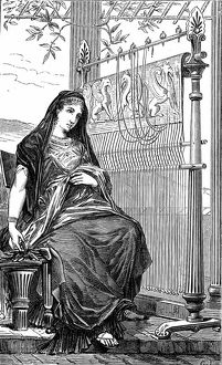 Penelope and her loom. In Ancient Greek legend wife of Ulysses, mother of Telemachus