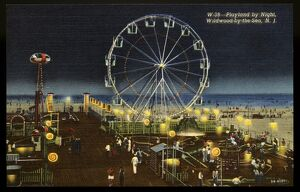 Playland Along the Beach. ca. 1945, Wildwood, New Jersey, USA, W-38--Playland by Night