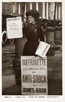 Postcard of a Suffragette Holding Newspapers. Postcard of a Suffragette Holding Newspapers