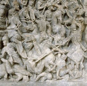 Romans in battle against the Barbarians. Scene from sarcophagus of a general of Roman