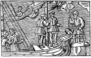 Sailors buying winds (tied in knots) from a magician. From Olaus Magnus Historia