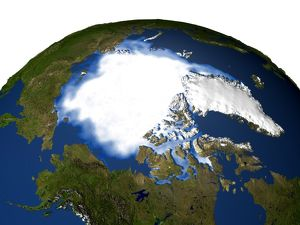Satellite and computer generated image of the Arctic and Greenland
