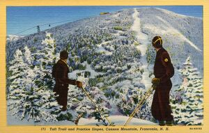 Ski Patrol on Cannon Mountain. ca. 1938, Franconia, New Hampshire, USA, Picture shows