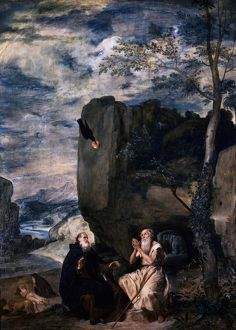 St Anthony and St Paul in the desert being fed by a raven. 1645. Diego Velasquez