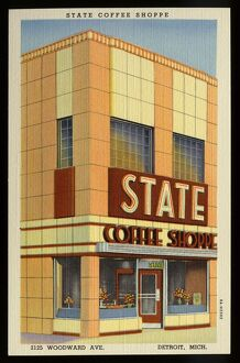 State Coffee Shoppe. ca. 1938, Detroit, Michigan, USA, STATE COFFEE SHOPPE, 2125 WOODWARD AVE