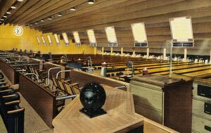 Sunset Bowling Center. ca. 1945, Hollywood, Los Angeles, California, USA, At Sunset Bowling Center