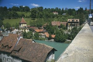 Switzerland, Bern, Medieval buildings and Aare River