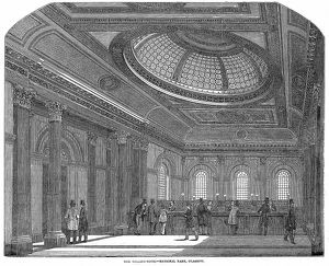 Telling Room, National Bank of Scotland, Glasgow. Wood engraving c1860