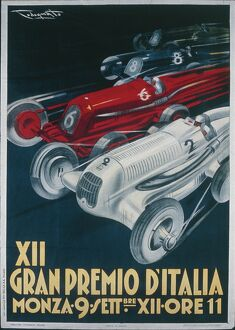 Twelfth Italian Grand Prix at Monza, September 9, 1934, illustration by Plinio Codognato