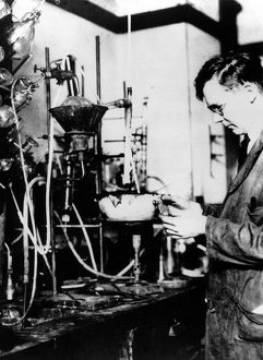 Wallace Hume Carothers (1896-1937) in the laboratory. Discovered of nylon while working