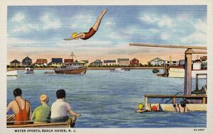 Woman Diving off a Pier. ca. 1935, Beach Haven, New Jersey, USA, WATER SPORTS, BEACH HAVEN, N
