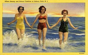 Women Running in the Surf. ca. 1939, Asbury Park, New Jersey, USA, Where Beauty